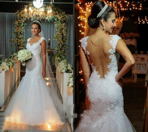 Classic White Luxury Lace Mermaid Wedding Dresses Inbal Dror Sexy Backless Bridal Gowns Appliques Beaded Chapel Train Vestidos de Novia