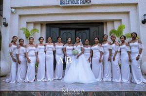 2020 blanca del hombro de dama de honor vestidos de sirena sin respaldo País estilo simple criada del Prom Vestidos