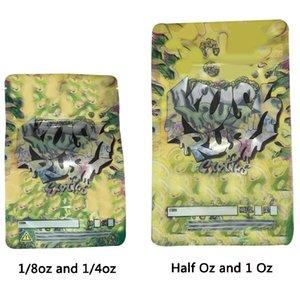 Kush de Rush Bolsas exóticos 3,5 g 7 g 14 g 28 g Mylar Bolsa mitad Oz Paquete Seguro para niños empaquetado al por menor de flor seca la hierba del tabaco