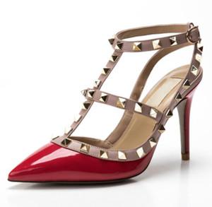 2019 Designer femmes v talons hauts parti de mode rivets filles sexy chaussures pointues Danse chaussures de mariage chaussures Double bretelles sandales