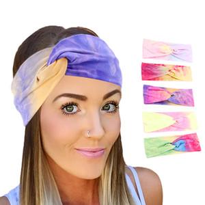 New tie-dye Headbands de algodão para as Mulheres Torça Elastic Hairbands Esporte Headband Yoga Turban Acessórios de cabelo Headwrap Meninas