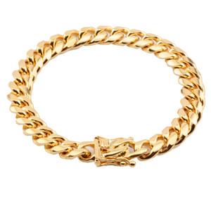 Classique Miami Cuban Gourmette Chaîne Bracelet En Acier Inoxydable Or Hommes Femmes Hip Hop Lien Bracelet 10mm
