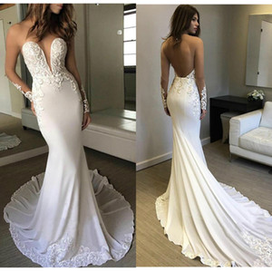 Berta Mermaid Wedding Dress Long Sleeves 2019 Vestidos de novia Vintage Lace Sheer Neck Bridal Gown Backless Wedding Gowns
