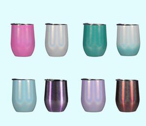 12 Unze Edelstahl Regenbogen Ei Glitter Becher Bunte Wasserflasche Home Office Becher mit Deckel Milch Kaffeetasse Kinder Tassen A06