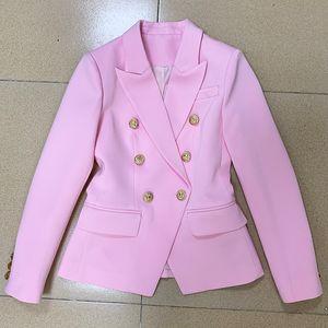 EXCELLENT QUALITY 2020 Baroque Designer Women Blazer Jacket Pink Slim Fitting Metal Lion Buttons Double Breasted Career Blazer