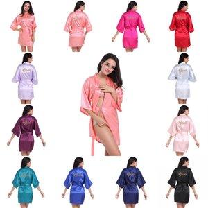 Mujeres satinados camisón corto kimono bata letra impresa albornoz noche baño bata boda novia dama de honor sexy vestido de vestirste
