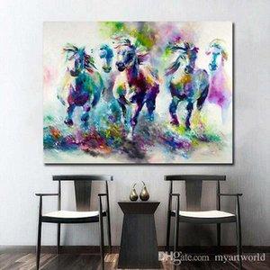 ملون المستخلص الخيول من ناحية رسم الحديثة ديكور المنزل خلاصة الحيوان جدار الفن زيت على Canvas.Multi الأحجام / الإطار الخيارات آل Dafe-
