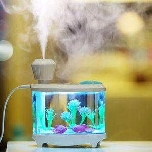 Humidifier réservoir créatif poisson Mini USB Ménage humidificateur d'air ultrasonique Belle Veilleuse DC5V 460ml Huile Aroma Diffuseur