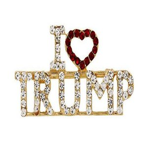 "Crystal Trump Brooch Rhinestone Glitter Brooches Red Heart Letter ""I Love Trump"" Pin Women Girls Coat Dress Jewelry Party Favor"
