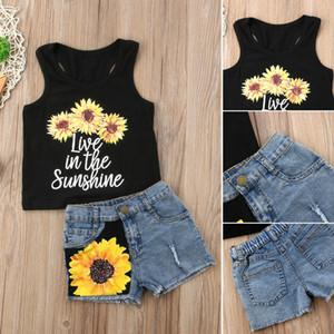La niña de verano para niños Trajes para niños pequeños Ropa tapas de la camiseta + pantalones cortos 2pcs
