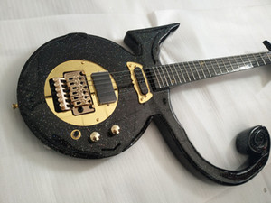 نادر الماس سلسلة الأمير الحب رمز كبير البريق لامع أسود الغيتار الكهربائي فلويد روز اهتزاز الذيل ، EMG بيك اب ، الأجهزة الذهب
