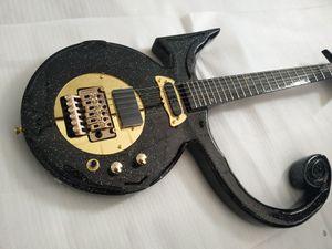 Serie di diamanti rari Prince Love Symbol Big Sparkle Metallico Black Electric Guitar Floyd Rose Tremolo Tailpiece, EMG Pickup, Gold Hardware