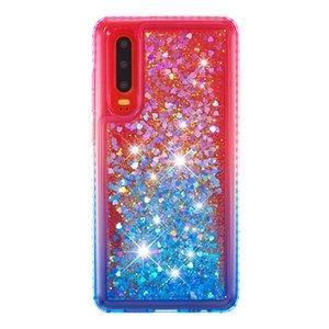 2021 Heißer Verkauf Anti-Abfall-wasserdichtes Side Bohrer plus Gradient-Farbe Quicksand TPU-Handy-Kasten für Huawei P30