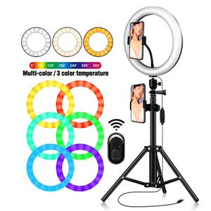 """10"""" RGB-Videokamera LED-Licht Desktop-Ständer mit 26CM RGB Multi-Farben-LED-Ringlicht 2700K-6500K und RGB für Live-Streaming"""
