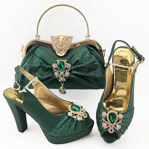 Green Color African Ladies Shoes Matching Hangbag Wedding Resticiton and Sweet Heart Style Shoes and Bag Set