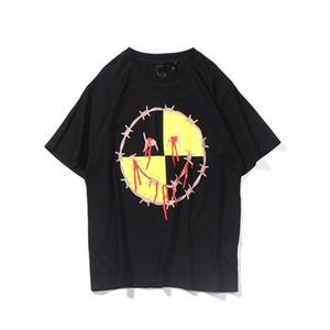 28ss huile rétro marque de mode rue Vlon peinture lettre graffiti fléchée impression hommes et les femmes amants T-shirt manteau de chandail à manches courtes