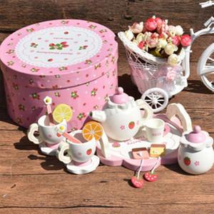 Cuisine créative fille Thé en céramique Set Toy Enfants Mini Tea Set en bois avec Jeux d'imitation boîte-cadeau Bowl Fruit tranche Coupe Plateau cuillère Y200428