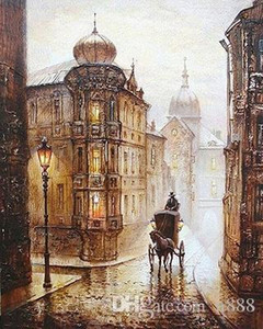 Hand-painted & HD Print Beautiful City Europe Street Landscape Art oil painting On Canvas Wall Art Home Deco Multi Sizes l222 200315