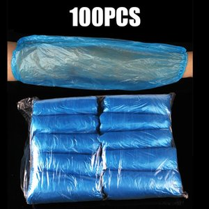 100шт Clear Blue одноразовые пластиковые Руки Обложки для очистки Защитные рукава Arm Covers Предложение Простой эффективной защиты
