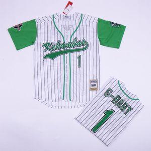 Jarius G-Baby Evans 1 Kekambas Pinstripède Jersey de baseball avec Patchs de Baseball Movie Baseball