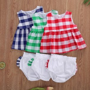 New Summer Baby Girls Plaid Sleeveless Round Neck Back Buttons Loose Top Short Solid Color Ruffle Triangle Elastic Band Pant