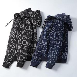 0150 20FW New Denim hoodie sweatshirt Jacket High-end Fashion Street Casual Hip Hop Denim Pique Zips Hoodie coat Letter print sweatshirt