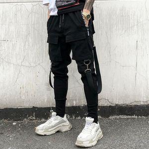 Skinny Pants Men personality punk hiphop harem pants nightclub singer stage costume trousers men hip hop ribbons cargo joggers streetwear