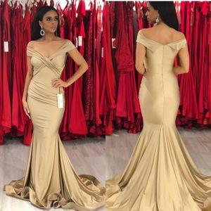 2019 Champagne Prom Dresses Sexy Backless Off Shoulder Mermaid Abiti Da Sera Lunghi Abiti Formali de fiesta Celebrity Gowns