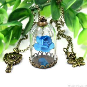 Pendente del fiore della Rosa collane di fascino della farfalla catena lunga collana maglione della Rosa in terrario Pendant San Valentino regali di gioielli Statement