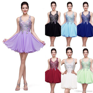 2020 Royal Blue principali Cristalli corto Abito A-line appliqued Backless del partito del vestito da cocktail mini abito di promenade di ritorno a casa Club Wear