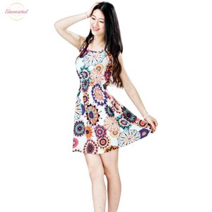 Female Fashion Summer Sleeveless Sunflower Print Lady Casual Beach Mini Dress Women Sundress 11.Apr.4