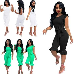 Mode Frauen-Overall Kurzarm T-Shirt Strampler Solid Color Falbala Mode Jumpsuits Sommer-einteilige Bodysuit Nachtclub Kleidung