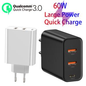 EU Plug 3 portas USB iPhone PD carregador de 60W para 11 Pro Xs Max XR rápido Phone Charger Quick Charge 4.0 3.0 FCP SCP Para Xiaomi Huawei Notebook