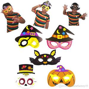 Çocuk Cadılar Bayramı Maskesi Kağıt Maske Kostüm Kabak Şapka Kedi Yarım Masquerade Yüz Maskesi 20X18 CM Yeni 2019