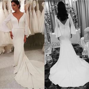 Satin Mermaid Wedding Dresses V Neck Backless Long Sleeve Trumpet Covered Button Beach Garden Bridal Gowns vestidos de novia Plus Size