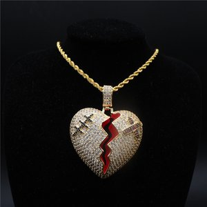 Unisex Fashion Men Women Necklace Gold Silver Color CZ Heart Pendant Necklace with 24inch Rope Chain Nice Gift