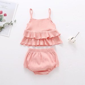2pcs Infant Baby Girls Rompers Ruffles Solid Color Suspender Vest Tops+Shorts Outfits Set Sleeveles Clothing 2020 ensemble