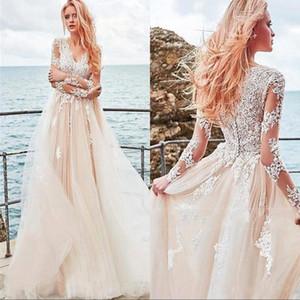 2020 Длинные рукава Пляж Свадебные платья A-Line V-образным вырезом Аппликация Тюль Свадебные платья плюс размер Страна свадебное платье