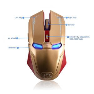 100pcs drahtlose Maus 2.4G Iron Man 6-Key Mute Spiel Geeignet für PC Computer-Notebook mit USB-Empfänger 1600DPI DHL-freies Verschiffen