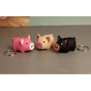 20pcs / lot Cadeia LED Pig Keychain dos desenhos animados Dolls Chaveiro Som Luz chave para a bolsa Presente bonito Animais chave Porcos anel chaveiros