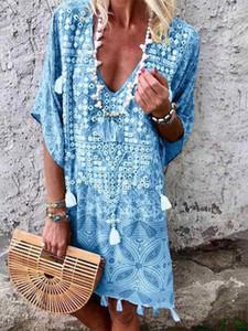 تغطية بوهو شاطئ التستر ديب V الرقبة بيكيني حتى صوفية ملابس للشاطئ صيدا برايا ملابس نسائية