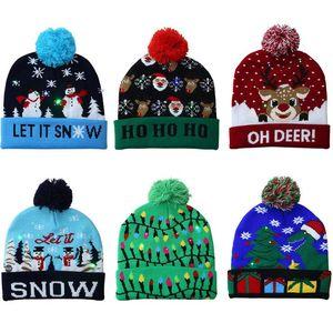 Led Natal malha chapéus Pom Pom Luz Xmas Gorros Crochet Chapéus de Inverno cervos Gilrs Crânio Cap Natal decoração de casa LXL633-1