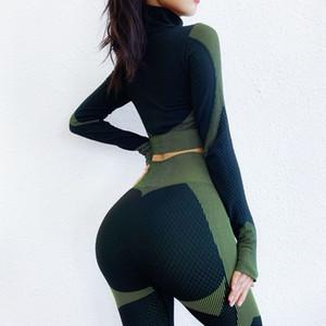 2020 spot en Europe Mouvement Modèles Burst Fermeture à glissière moulante à manches longues Costume Fitness Yoga sans couture Costume manches longues Femme