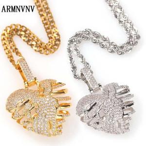 ARMNVNV цвета золота Сломанный Skeleton сердца ожерелье 3A Кубический циркон Мужчины Хип-хоп Рок Jewelry