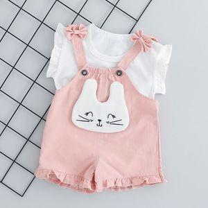 New Summer Baby Girl Short Sleeve Cartoon Print T-shirt Top + Bib Shorts Children Casual Wear Set