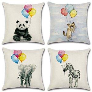 Yaratıcı Fil Zebra ile Balon Yastık Kapak Ev Tekstil Minder Hayır İç Çekirdek Hattı Yastık Kılıfı