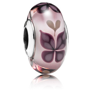 5 adet 925 Ayar Gümüş Dişli Vida Pembe Kelebek Kisses Murano Cam Boncuk Fit Avrupa Pandora Takı Charm Bilezikler Kolye