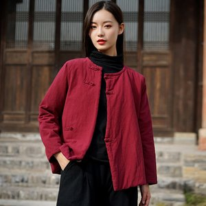 Johnature 2020 Winter Women New O-neck Plate Buckle Retro Thickened Cotton Coats Loose Comfortable Long Sleeve All-match Coat