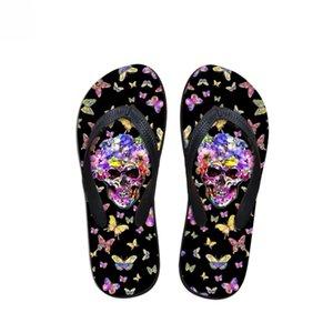 Flip Flops noir sur mesure Crâne avec pantoufles 2019 Flip Mode Femme papillon Prints été femme Flops Casual Appartements meublés