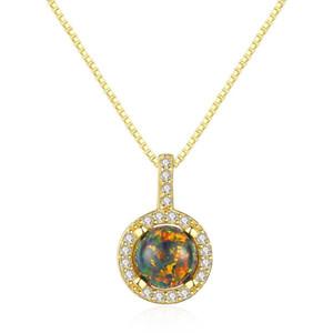 SANYU Argent 925 Ronde Opale Pendentif Collier pour femmes de Charme en argent Pendentif chaîne Sparkling Colliers Bijoux Cadeaux
